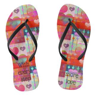 Cute Colorful Love Hearts Flip Flops