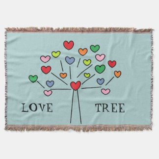Cute Colorful LOVE Hearts TREE Design Throw