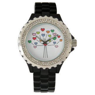 Cute Colorful LOVE Hearts TREE Design Watch