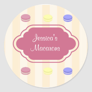 Cute Colorful Macarons Bakery Product Label Round Sticker