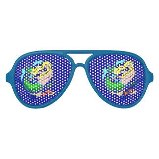 Cute Colorful Mermaid Dreams Blue Aviator Sunglasses