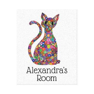 Cute Colorful Mosaic Flower Cat Monogram Name Room Canvas Print