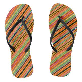 Cute colorful native aztec patterns design flip flops