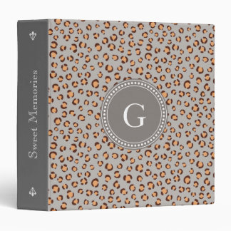 Cute colorful orange brown cheetah print monogram 3 ring binder