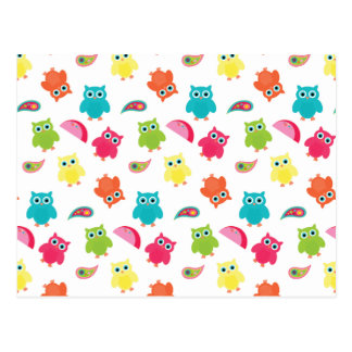 Cute Colorful Owl and Paisley Pattern Design Postcard