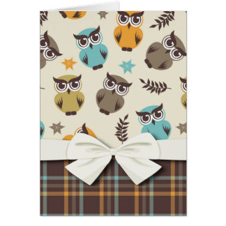 cute colorful owl and plaid card