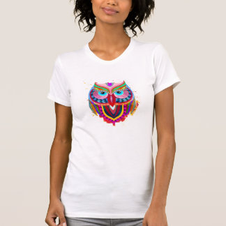 Cute Colorful Owl Apparel Fine Jersey T-Shirt