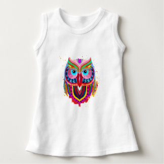 Cute Colorful Owl Baby Sleeveless Dress