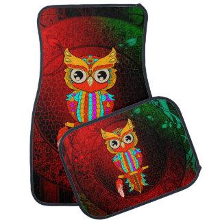 Cute colorful  owl car mat