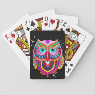 Cute Colorful Owl Cards, Standard Index faces Poker Deck