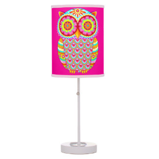 Cute Colorful Owl Lamp - Groovy Retro Style!