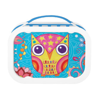 Cute Colorful Owl Lunchbox - Blue