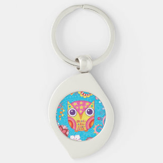 Cute Colorful Owl Metal Keychain - Groovy Owl Art!