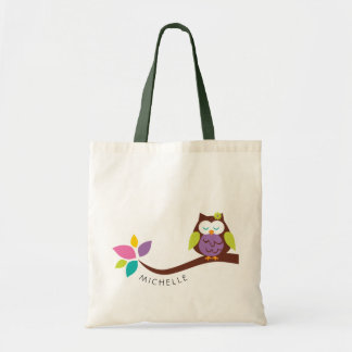 Cute Colorful owl on a branch PERSONALIZED Tote Bag