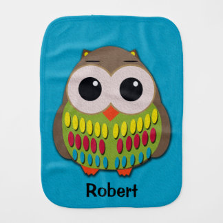 Cute Colorful Owl on Personalized Blue Burp Cloth