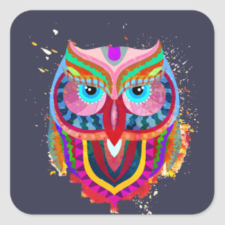Cute Colorful Owl Square Stickers, Glossy Square Sticker