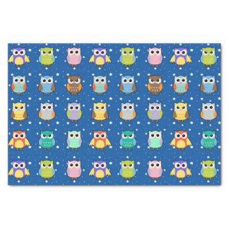 Cute Colorful Owls and Stars Tissue Paper