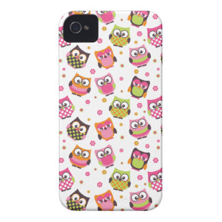 Cute Colorful Owls iPhone Case (white)