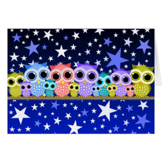 cute colorful owls note cards