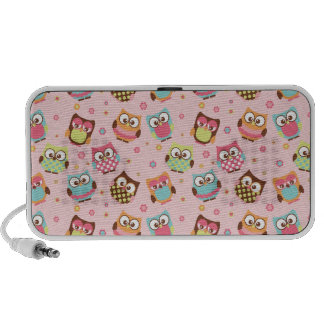 Cute Colorful Owls on Pink Pattern PC Speakers
