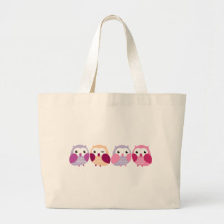 Cute Colorful Owls - Pink and Purple Pastels Jumbo Tote Bag