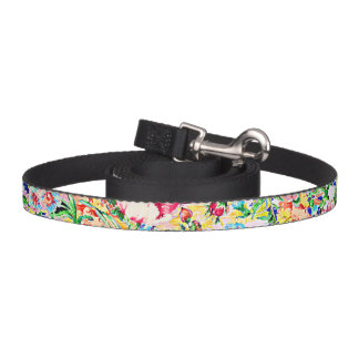 Cute colorful painting roses pet lead