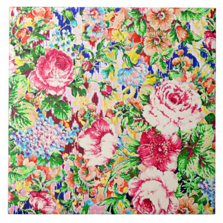 Cute colorful painting roses tile