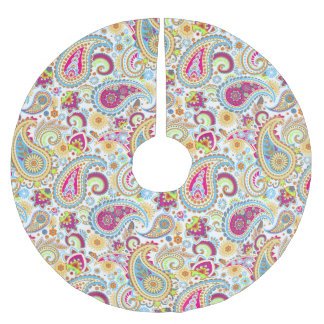 Cute colorful paisley pattern brushed polyester tree skirt