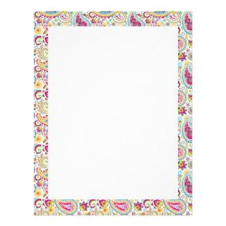 Cute colorful paisley pattern letterhead