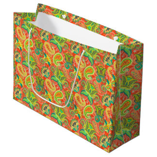 Cute colorful paisley patterns large gift bag