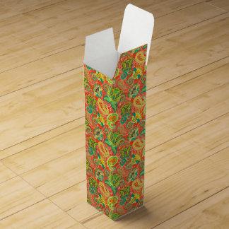 Cute colorful paisley patterns wine gift box