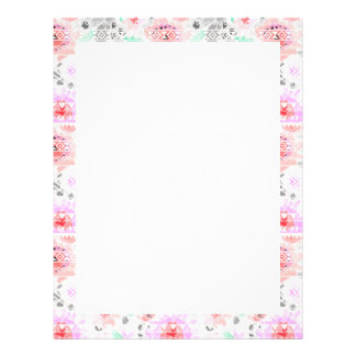 Cute colorful pastel floral aztec letterhead