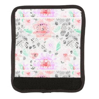 Cute colorful pastel floral aztec luggage handle wrap