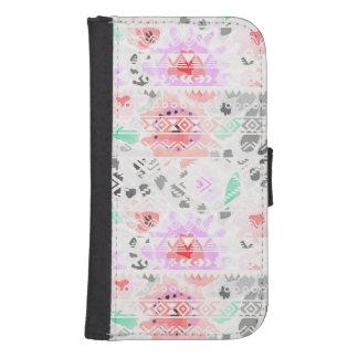 Cute colorful pastel floral aztec samsung s4 wallet case