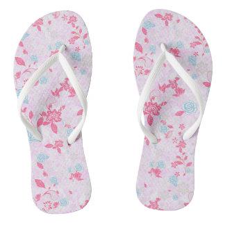 Cute colorful pastel floral pattern flip flops