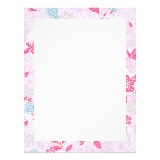 Cute colorful pastel floral pattern letterhead
