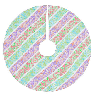 Cute colorful pastel flowers stripes brushed polyester tree skirt