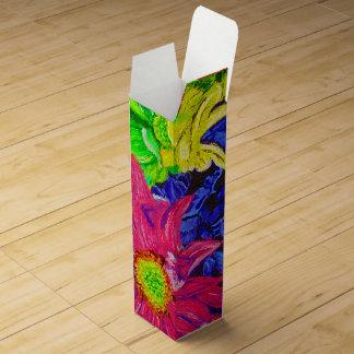 Cute colorful pastel flowers wine box