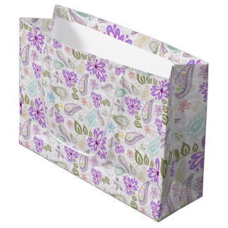Cute colorful pastel paisley patterns large gift bag
