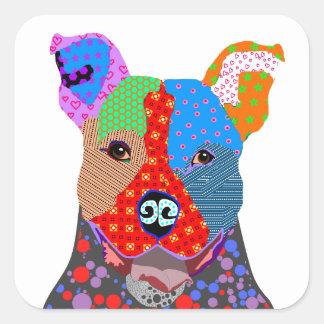 Cute Colorful Patchwork Pitbull Dog Square Sticker