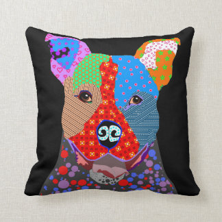 Cute Colorful Patchwork Pitbull Dog Throw Pillow