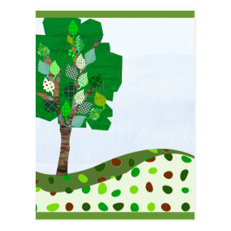Cute Colorful  Patchwork Tree and Green Hills Postcard