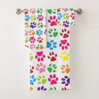 Cute Colorful Per Paw Pattern Bath Towel Set