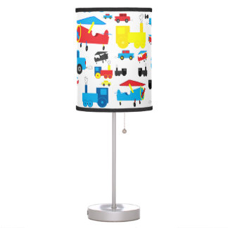 Cute Colorful Planes, Trains and Cars Collage Table Lamp