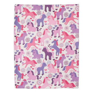 Cute Colorful Playing Unicorns Duvet Cover