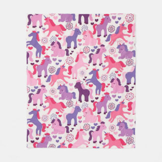Cute Colorful Playing Unicorns Fleece Blanket
