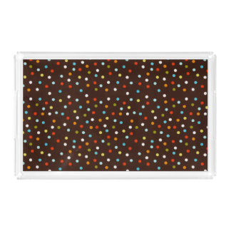Cute Colorful Polka Dots Brown Acrylic Tray