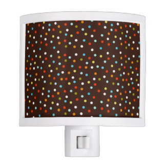 Cute Colorful Polka Dots Brown Night Lite