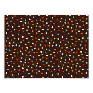 Cute Colorful Polka Dots Brown Photo Art