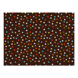 Cute Colorful Polka Dots Brown Photo Print